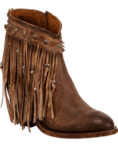 Lucchese Women's Handmade Tan Farrah Beaded Fringe Booties - Round Toe , Tan, hi-res