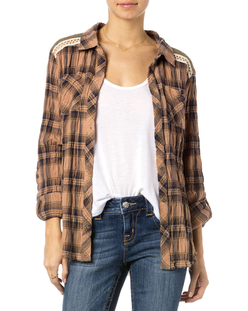 Miss Me Brown Plaid Lace Back Top , Brown, hi-res