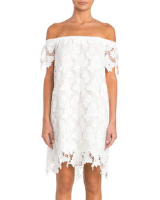 Miss Me Women's Off the Shoulder Lace Dress, White, hi-res