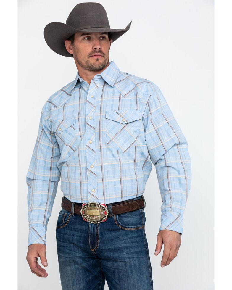 Resistol Men's Death Valley Large Plaid Long Sleeve Western Shirt , Blue, hi-res