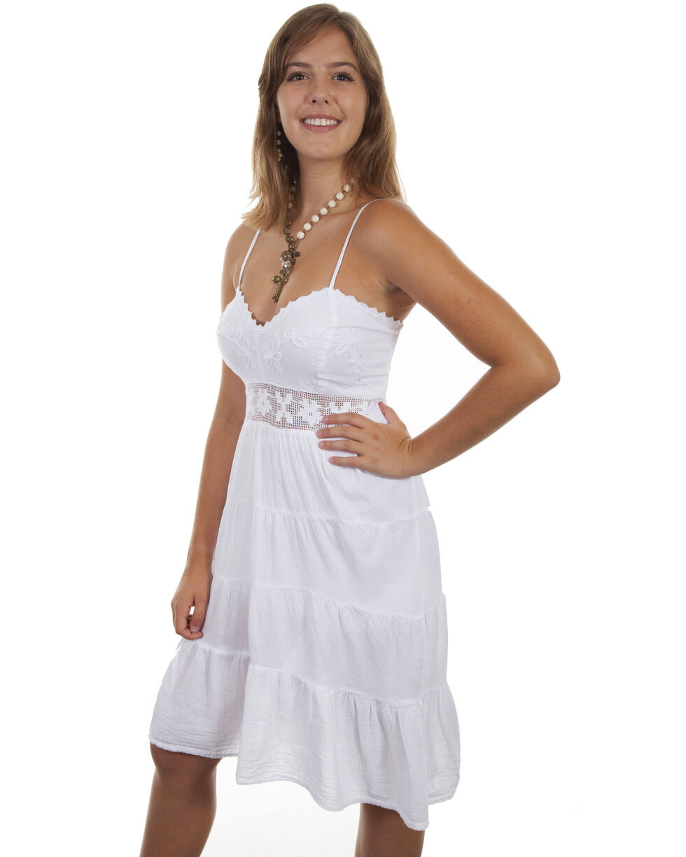 Cantina by Scully Women's White Ruffle Spaghetti Strap Dress, White, hi-res