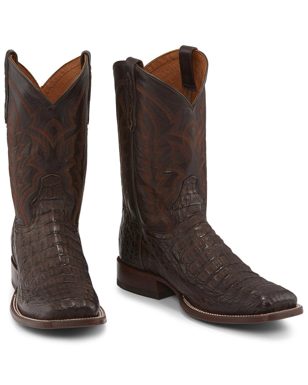 Tony Lama Men's Chocolate Hornback Caiman Western Boots - Square Toe , Chocolate, hi-res