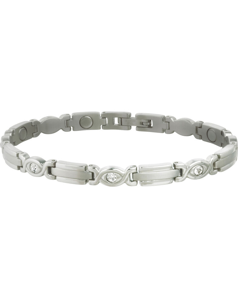 Sabona Women S Executive Silver Gem Magnetic Bracelet Steel Hi Res