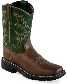 Old West Youth Boys' Chocolate/Green Leather Work Rubber Cowboy Boots - Square Toe, Chocolate, hi-res