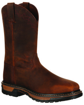 Rocky Men's Original Ride Western Work Boots - Square Toe, Dark Brown, hi-res