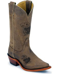 Nocona Women's University of Kansas College Boots, Tan, hi-res