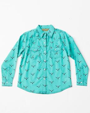 Wrangler Girls' Steer Head Snap Long Sleeve Western Shirt, Turquoise, hi-res
