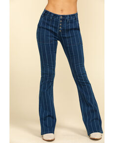 Rock & Roll Cowgirl Women's Stripe Flare Jeans , Blue, hi-res