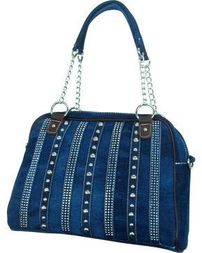 Savana Women's Rhinestone & Stud Denim Handbag, Blue, hi-res