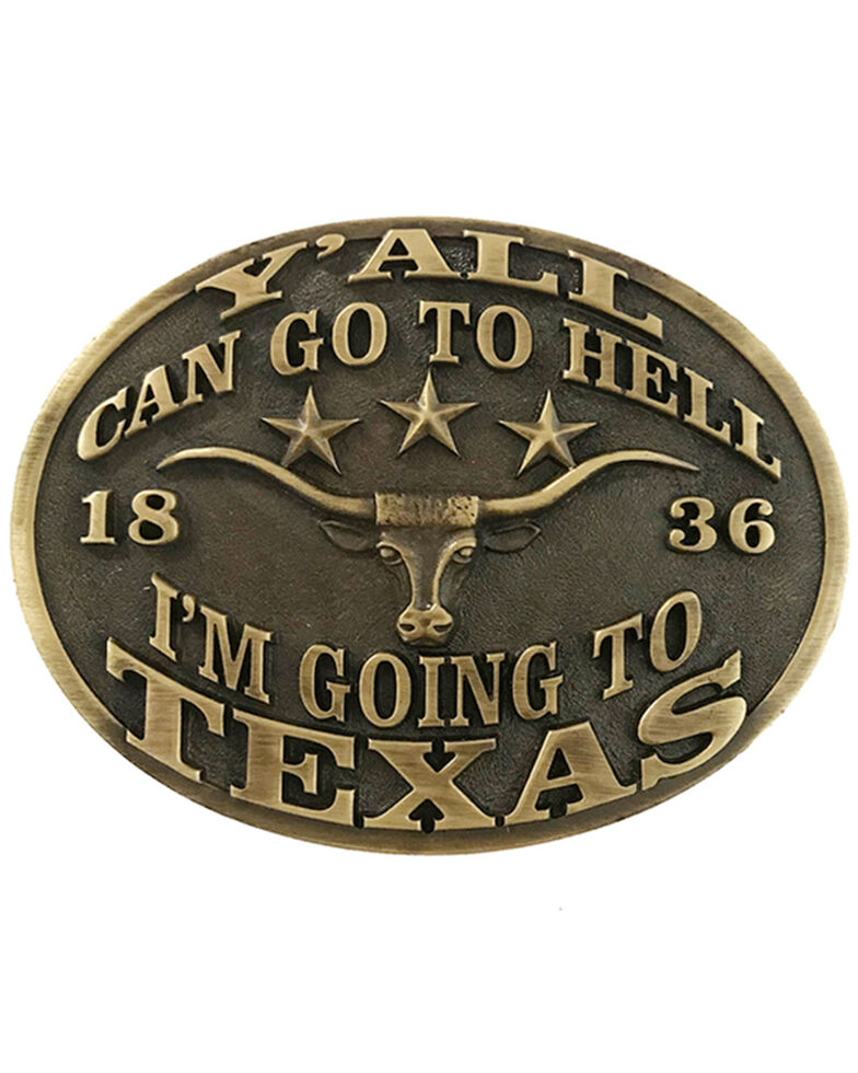 """AndWest """"Y'all Can Go To Hell, I'm Going To Texas"""" Buckle, Bronze, hi-res"""
