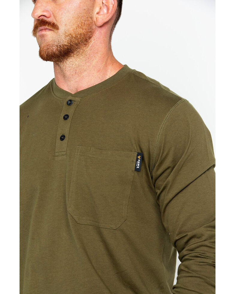Hawx Men's Pocket Henley Work Shirt - Big & Tall , Olive, hi-res