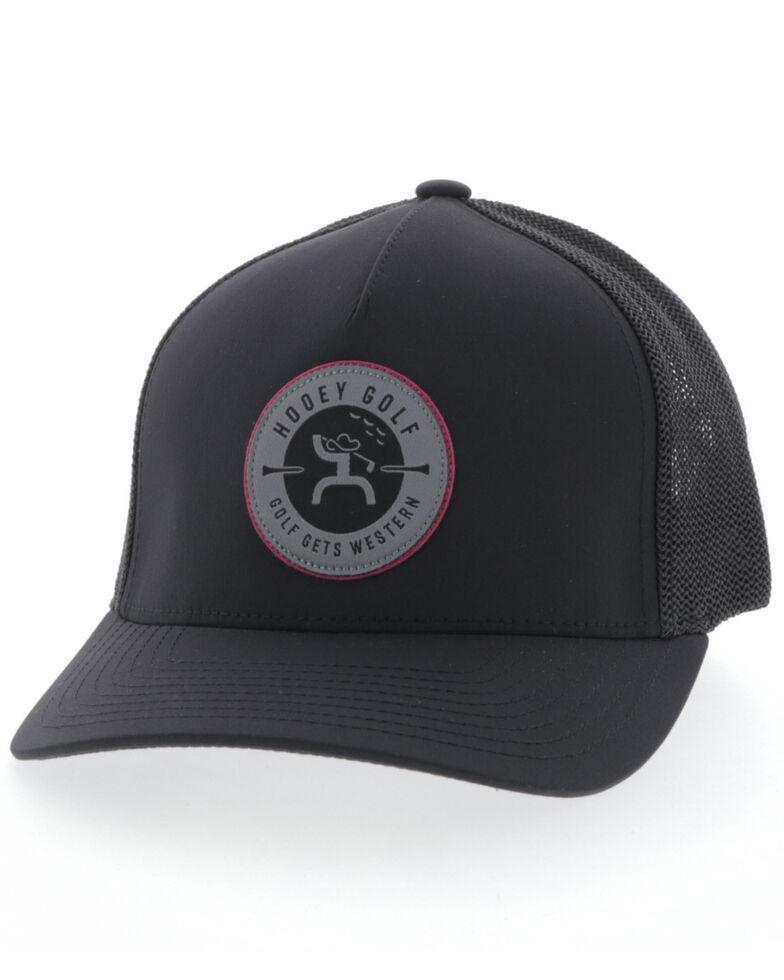 HOOey Men's Black Golf Logo Patch Cap , Black, hi-res