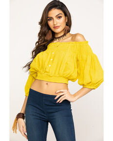 Free People Women's Dancing Till Dawn Top, Yellow, hi-res