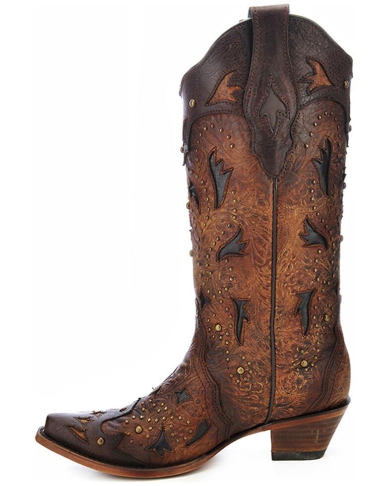 Corral Women's Studded Embossed Western Boots, Brown, hi-res