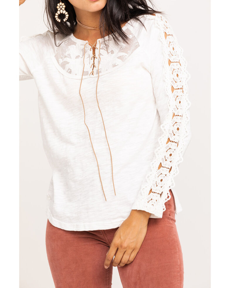 Miss Me Women's Solid Lace Up Long Sleeve Top, Ivory, hi-res