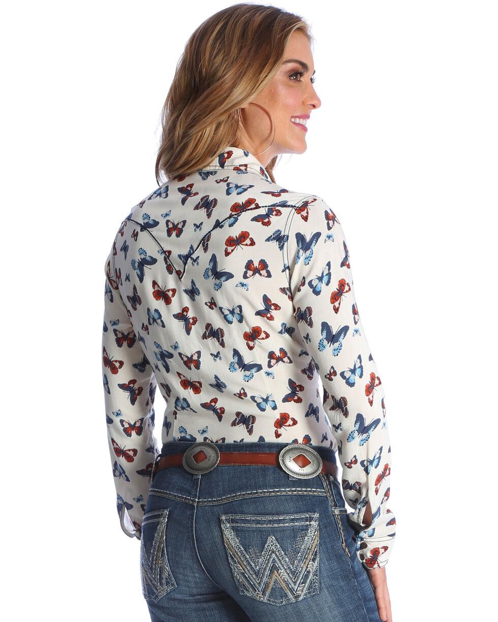 Wrangler Women's Ivory Butterfly Print Western Shirt , , hi-res