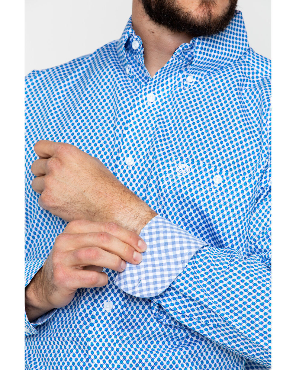 George Strait by Wrangler Blue Geo Print Long Sleeve Western Shirt , Blue/white, hi-res