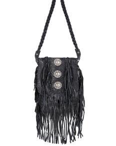 Scully Women's Concho Fringe Crossbody Handbag, Black, hi-res