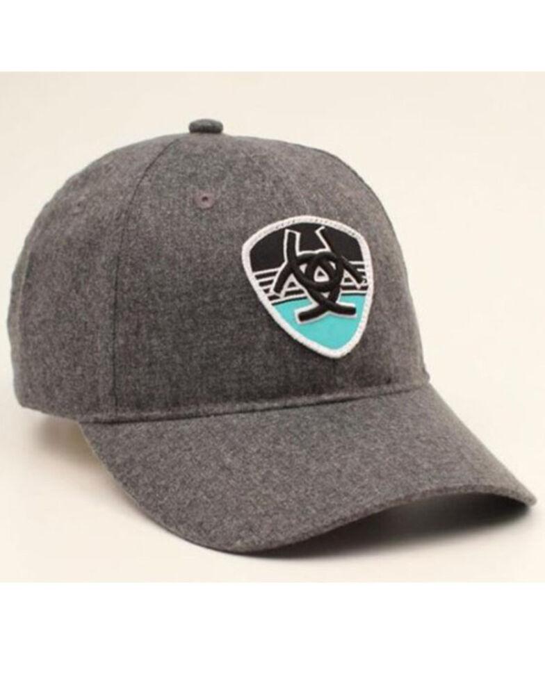 Ariat Men's Striped Shield Logo Patch Flex Fit Ball Cap , Grey, hi-res