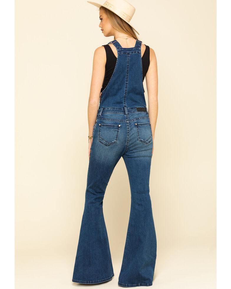 Rock & Roll Cowgirl Women's Medium Flare Overalls, Blue, hi-res
