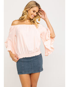 Ariat Women's Ciara Ruffle Top, Peach, hi-res