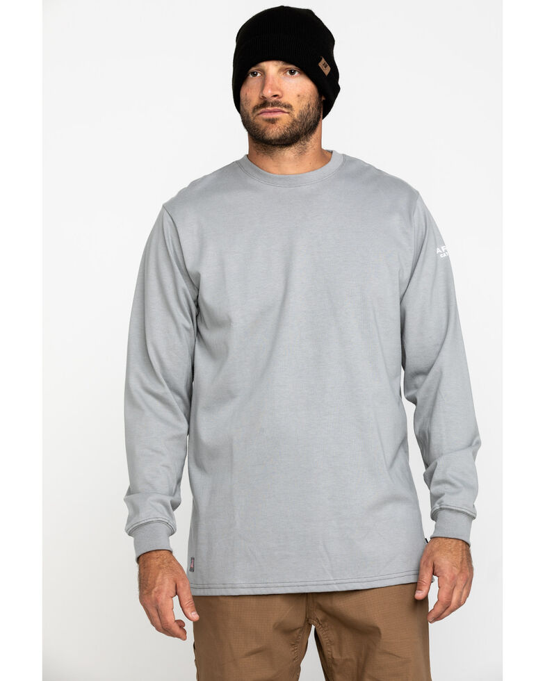 Ariat Men's Grey FR American Oil Graphic Long Sleeve Work T-Shirt - Tall , Silver, hi-res