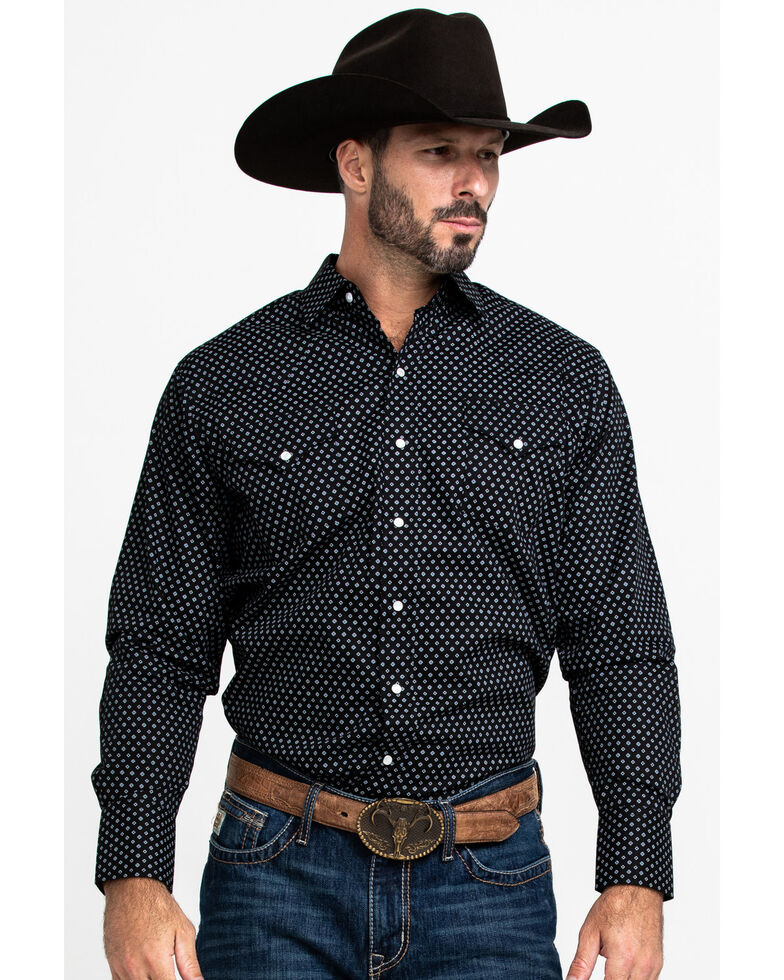 Ely Cattleman Men's Assorted Burgundy Geo Print Long Sleeve Western Shirt  , Multi, hi-res