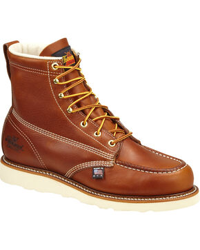 "Thorogood Men's 6"" Moc Safety Toe Lace-Up Work Boots, Brown, hi-res"