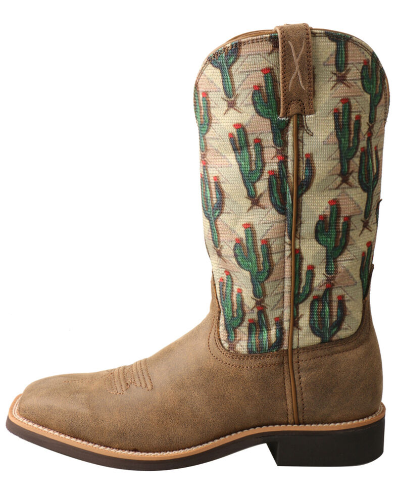 Twisted X Women's Cactus Print Top Hand Western Boots - Square Toe, Brown, hi-res
