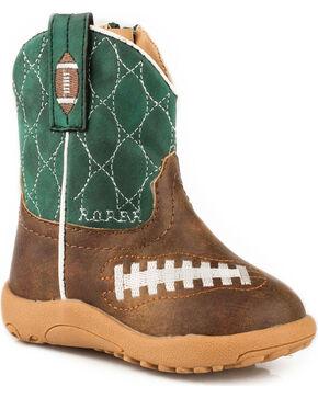 Roper Infant Boys' Football Pre-Walker Cowboy Boots - Round Toe, Brown, hi-res