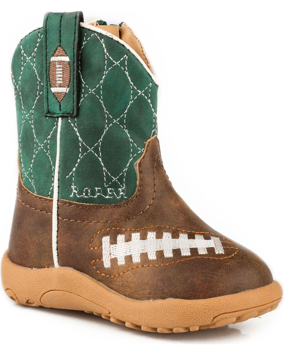 Roper Infant Boys' Football Pre-Walker Cowboy Boots - Round Toe, Brown, hi-res
