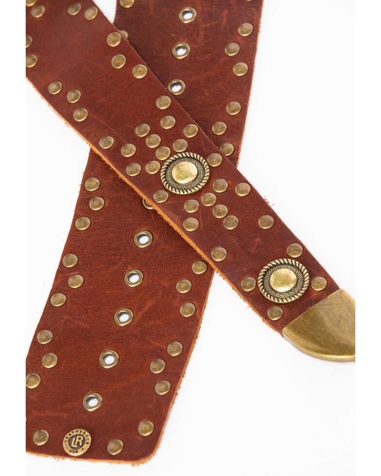 Leatherock Women's Brown Brass Studded Wrap Belt , Brown, hi-res