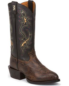 Tony Lama Men's Wax Uvalde Western Boots, Dark Brown, hi-res