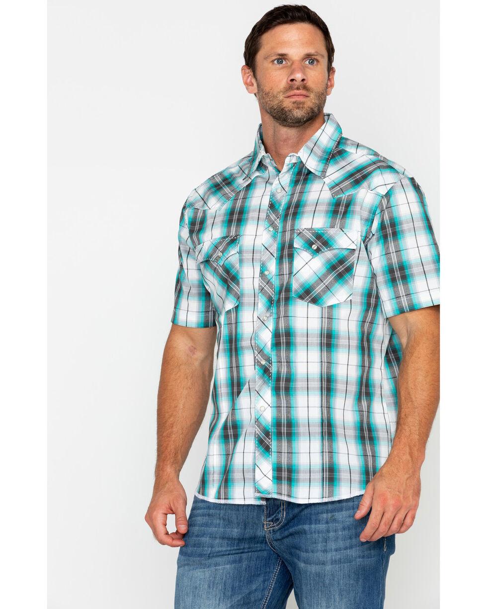 Wrangler Men's Large Plaid Short Sleeve Western Shirt , Black/turquoise, hi-res