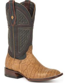 Stetson Men's Tan Honey Alligator Western Boots - Square Toe , Tan, hi-res
