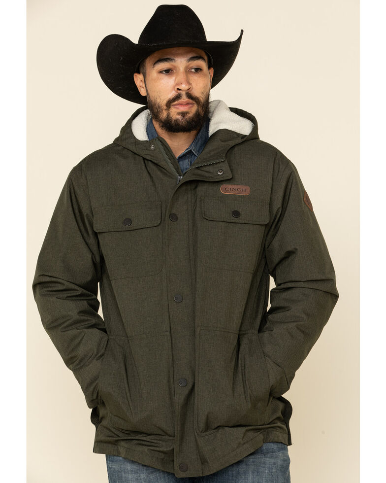 Cinch Men's Olive Herringbone Sherpa Lined Barn Coat , Olive, hi-res