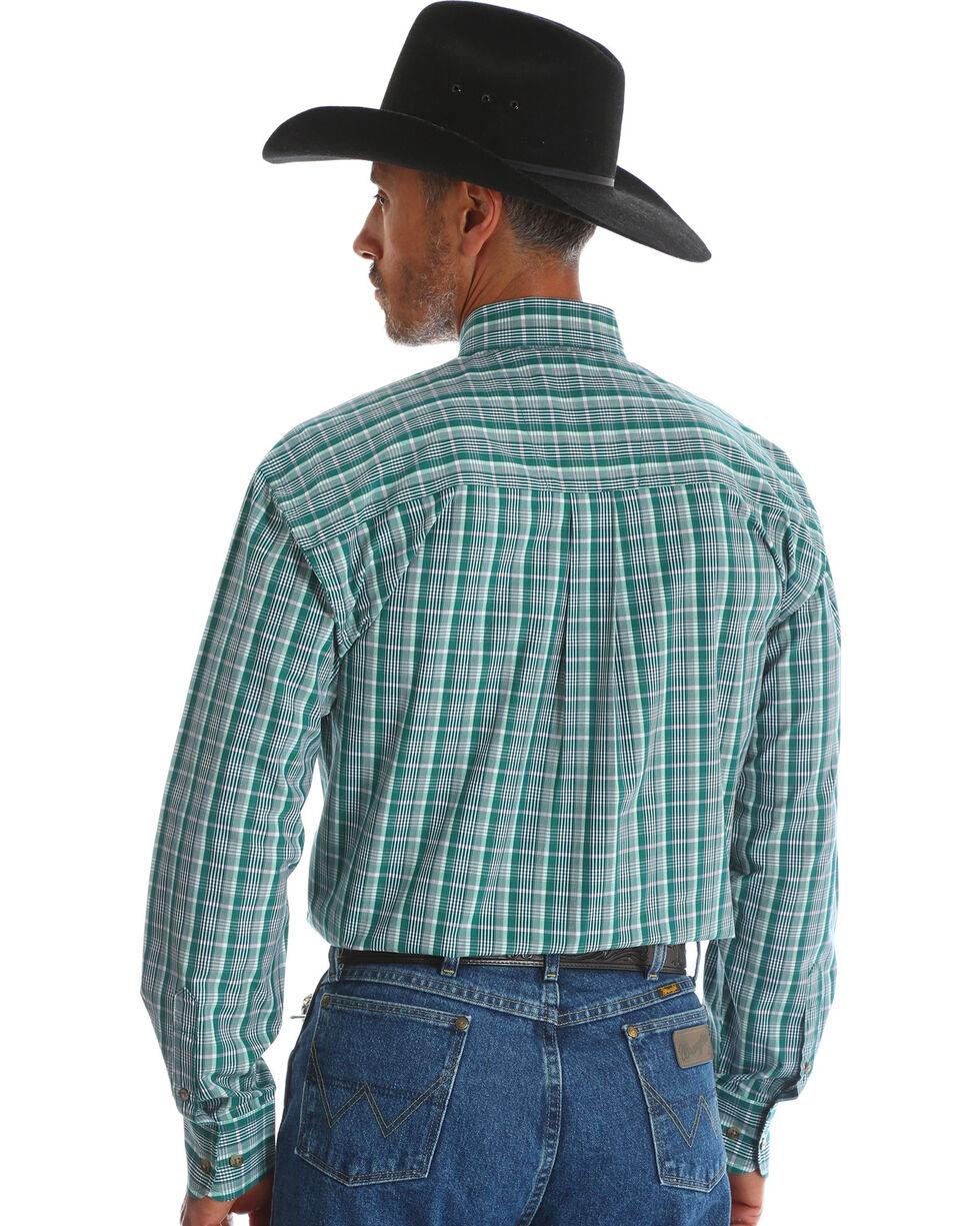 George Strait by Wrangler Men's Green Double Pocket Plaid Long Sleeve Western Shirt , Green, hi-res