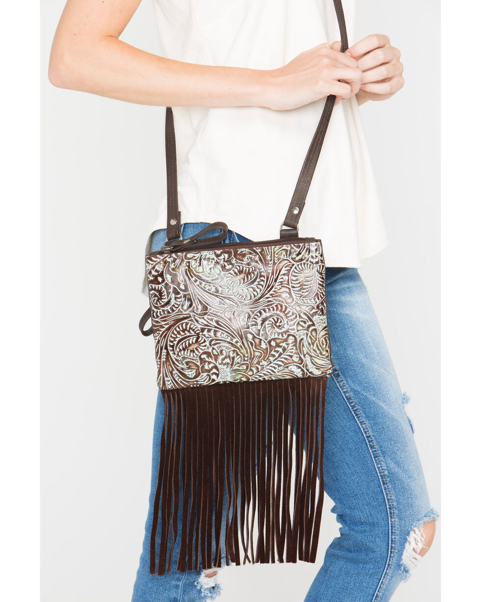Shyanne® Women's Filigree and Fringe Crossbody Bag, Turquoise, hi-res