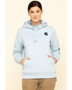 Carhartt Women's Heather Blue Clarksburg Logo Hoodie Sweatshirt, Heather Blue, hi-res