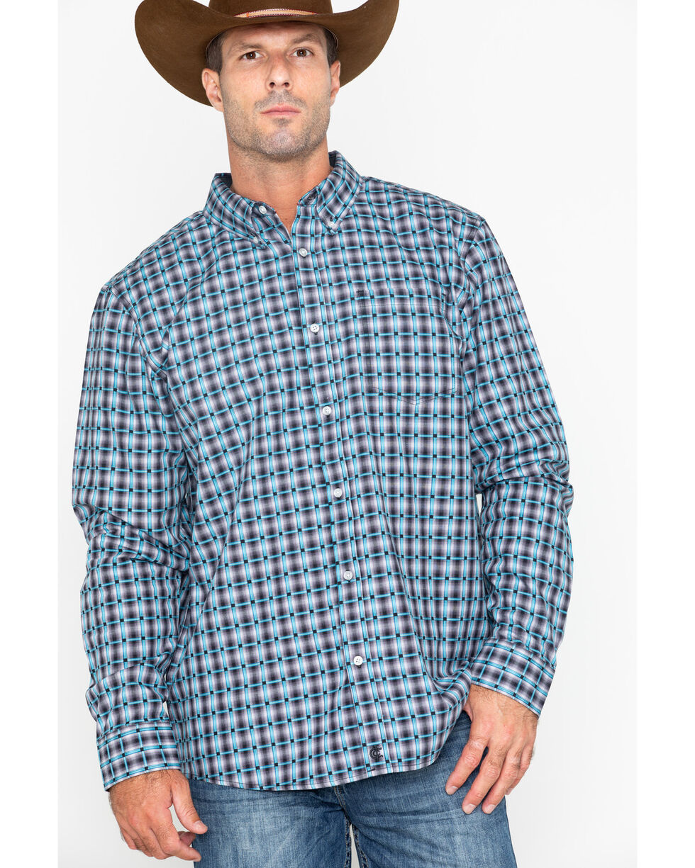 Cody James Core Men's Small Plaid Buckshot Long Sleeve Western Shirt - Big & Tall , Grey, hi-res