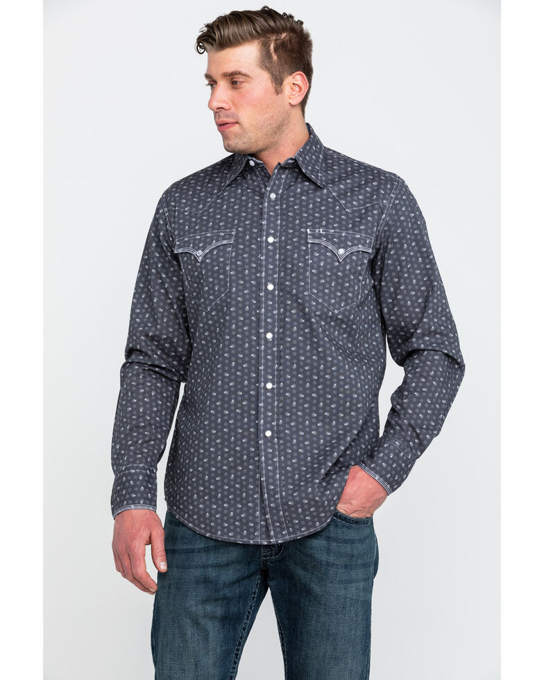 Roper Men's Small Paisley Print Long Sleeve Western Shirt , Grey, hi-res