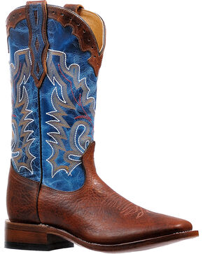 Boulet Men's Lava Electric Blue Stockman Cowboy Boots - Square Toe, Brown, hi-res
