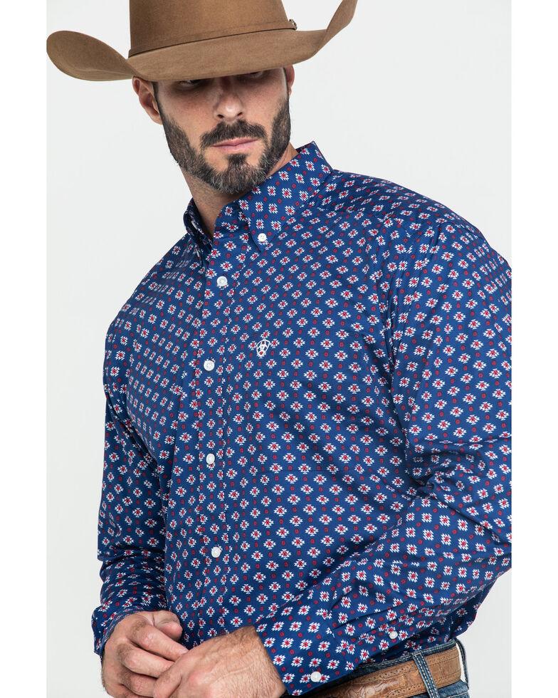 Ariat Men's Glenvar Stretch Aztec Print Long Sleeve Western Shirt , Blue, hi-res