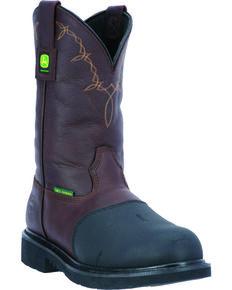 "John Deere Men's 11"" Steel Toe Waterproof Met Guard Work Boot, Chocolate, hi-res"