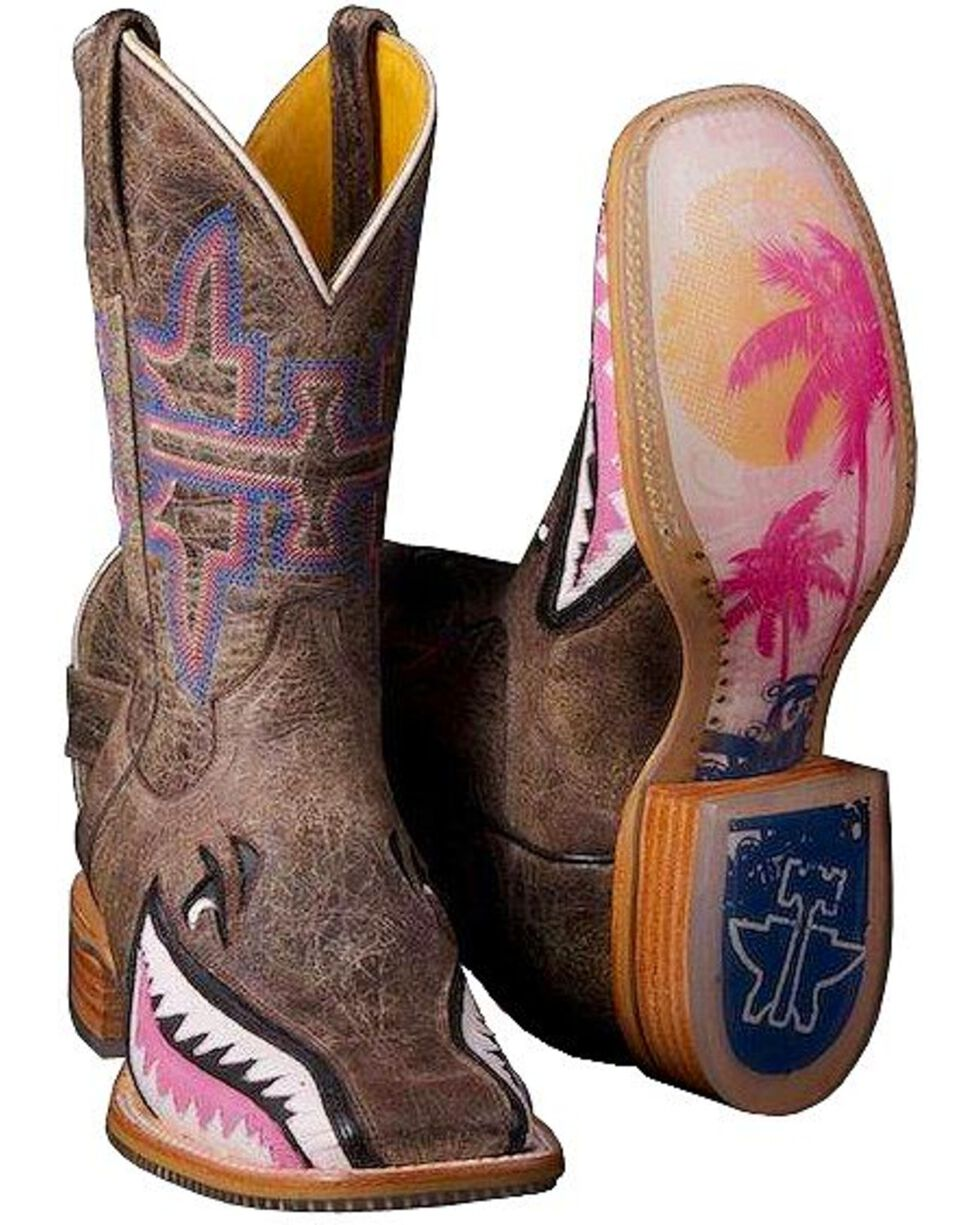 Tin Haul Women's Gnarly Pink Shark Western Boots, Dark Brown, hi-res