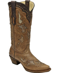 Corral Women's Ostrich Leg Inlay Western Boots, Antique Saddle, hi-res
