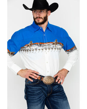 Wrangler Men's Checotah Long Sleeve Western Shirt, Blue/white, hi-res