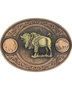 Montana Silversmiths Men's Copper Buffalo Indian Head Nickel Belt Buckle , Rust Copper, hi-res