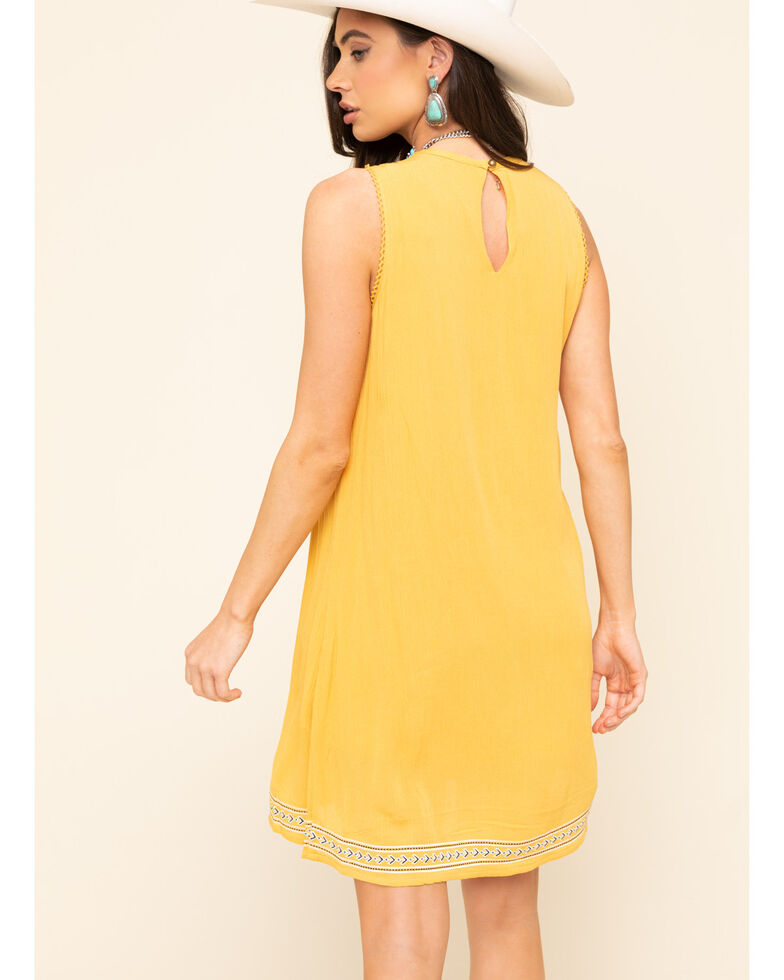Wrangler Women's High Neck Mustard Embroidered Shift Dress, Dark Yellow, hi-res