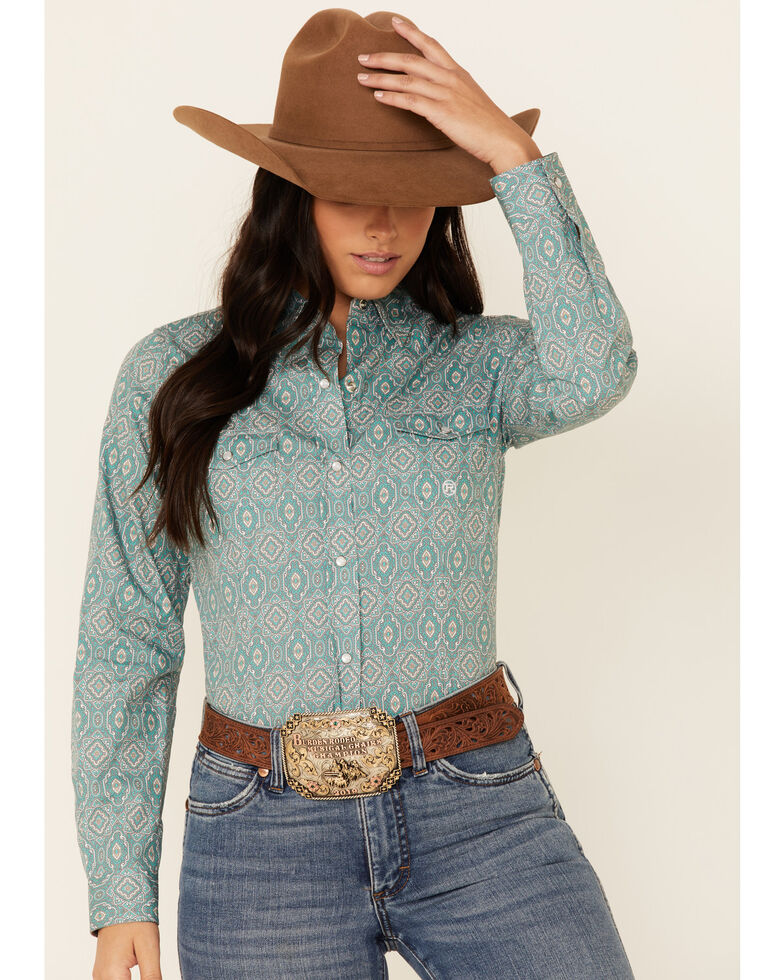 Roper Women's Jade Quarry Medallion Paisley Print Long Sleeve Snap Western Core Shirt , Teal, hi-res